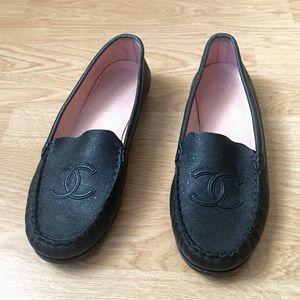 Chanel CC Logo Black Loafers 9.5